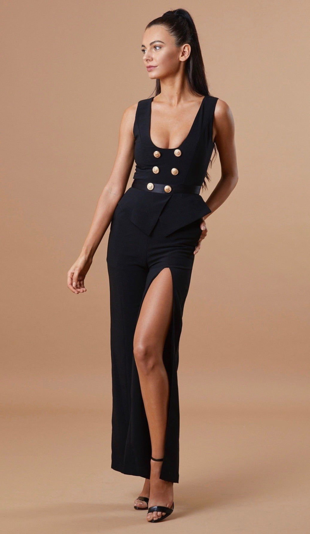 """STASI"" Gold Button Jumpsuit - GLAMBAE FASHION"