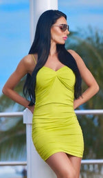 'NORRIE' Ruched Mini Dress - Neon Green