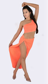 'MIMI' One Shoulder Two Piece Set - Neon Coral