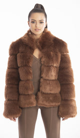"""EMINA"" Faux Fur Coat - GLAMBAE FASHION"