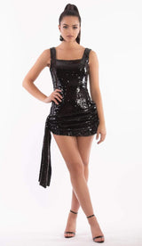 """DARLA"" Sequin Mini Dress - Black - GLAMBAE FASHION"