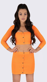 'BRENDA' Button Ribbed Two Piece Set - GLAMBAE FASHION
