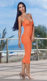 'STELLA'  Double Strapped Midi Dress - Neon Orange