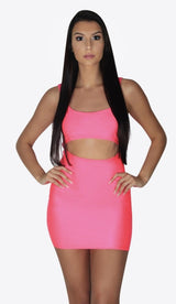 'NIKKI' Neon Cutout Mini Dress - GLAMBAE FASHION