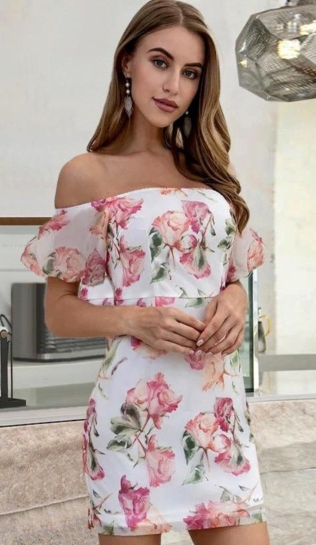 CASSIDY Floral Chiffon Off Shoulder Mini Dress