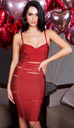 'GIANNA' Slit Bandage Dress - Burgundy - GLAMBAE FASHION