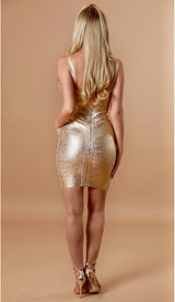'KALISTA' Gold Bandage Dress - GLAMBAE FASHION
