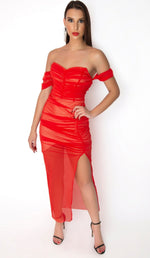 """JULIETTE"" Chiffon Bandage Maxi Dress - Red - GLAMBAE FASHION"