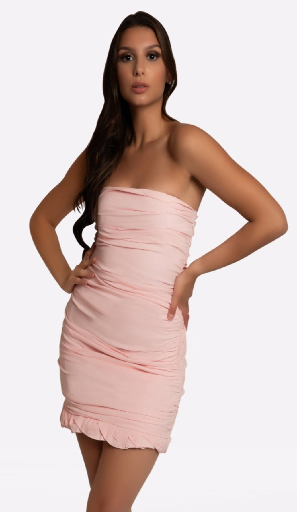 KELSEY Ruched Mini Dress - Pink