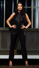 """TRINA"" Sequin Halter Jumpsuit - GLAMBAE FASHION"