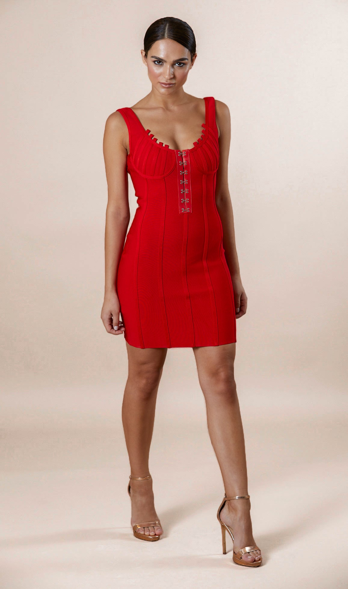 VERONICA Corset Bandage Dress - Red