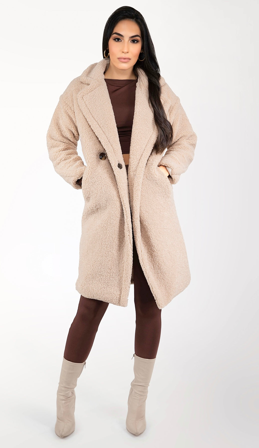 ALIVIA Teddy Coat - Sand