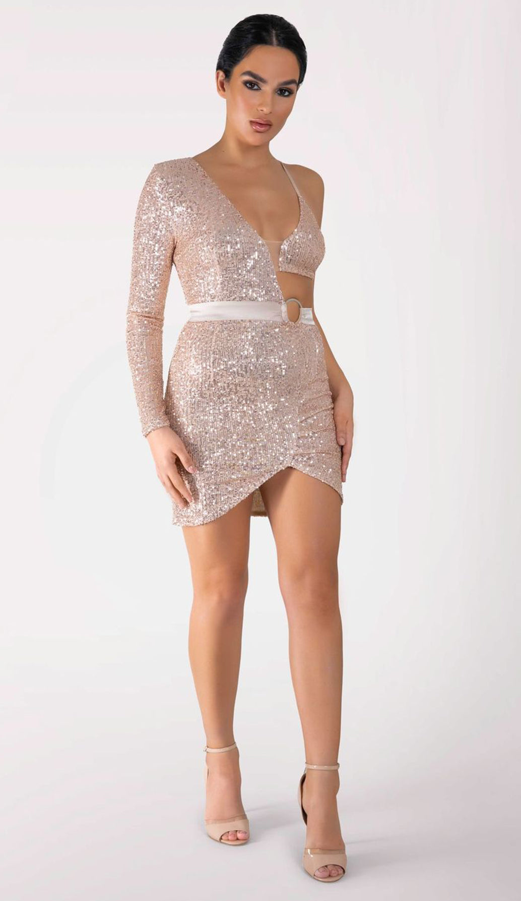 ARALIA One Shoulder Sequin Mini Dress