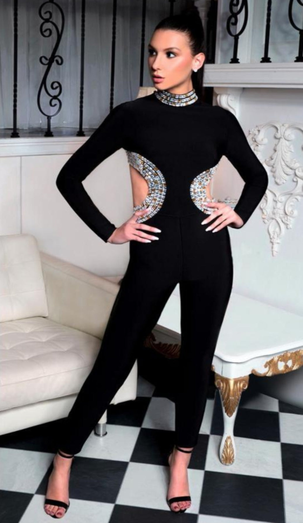 """CARMEN"" Bejeweled Bandage Jumpsuit - GLAMBAE FASHION"