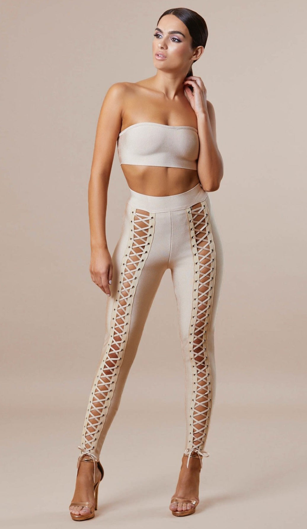 """DEMI"" Lace Up Bandage Pants - GLAMBAE FASHION"