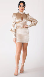 ELENA Long Sleeve Keyhole Satin Dress