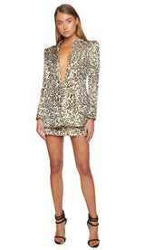 IZZY Cheetah Print Blazer Skirt Set