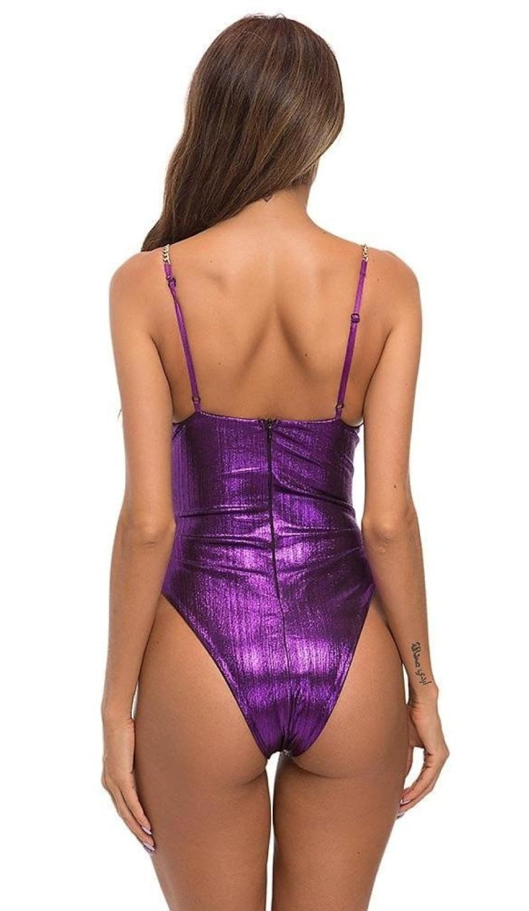 'MYKONOS' Metallic Gold Chain Bodysuit -  Purple
