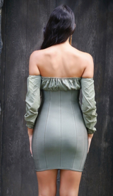 'CHRISTINE' Off the Shoulder Corset Bandage Dress - Olive
