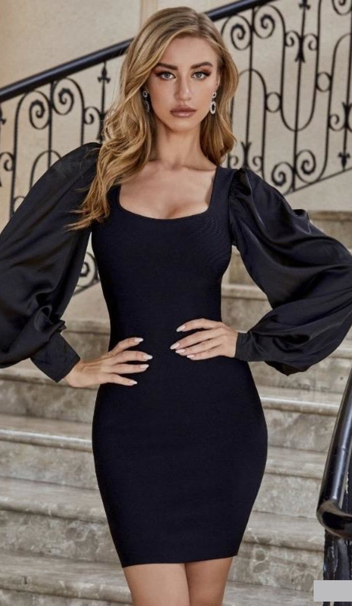 'NESSA' Satin Puff Sleeve Bandage Dress
