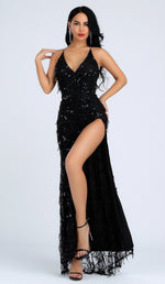 'FIONA' Sequin Slit Dress