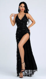 'FIONA' Sequin Slit Dress - GLAMBAE FASHION