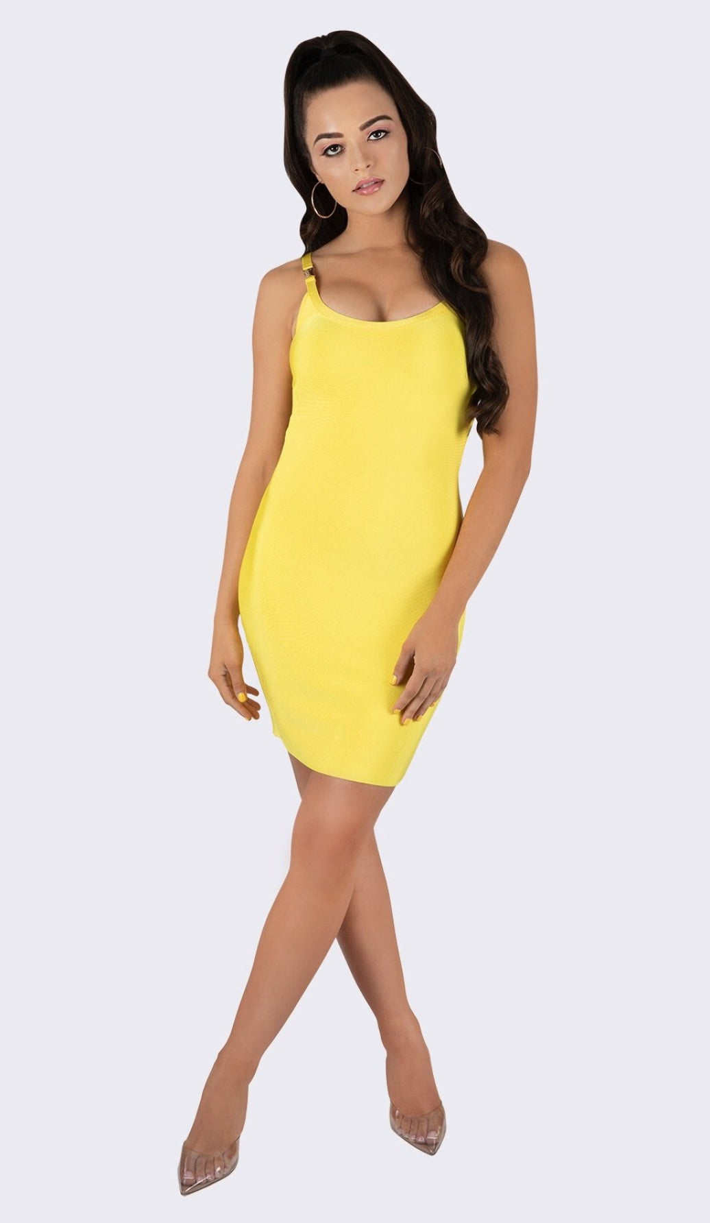 'RiRi' Gold Buckle Bandage Dress