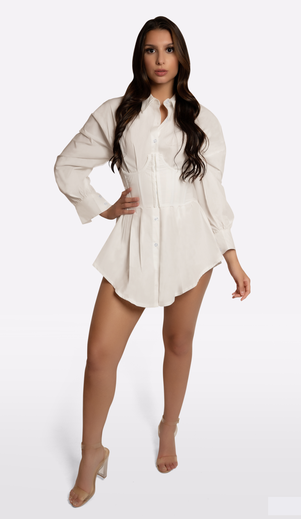 MCKENZIE Button Down Corset Mini Dress