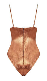 'MYKONOS' Metallic Gold Chain Bodysuit - Burnt Orange - GLAMBAE FASHION