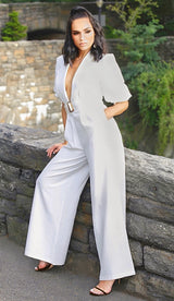'MARIANNA' Plunge Neck Belted Jumpsuit - GLAMBAE FASHION
