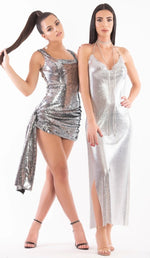 'DARLA'  Sequin Mini Dress - Silver - GLAMBAE FASHION