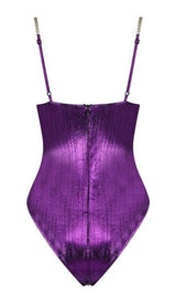 'MYKONOS' Metallic Gold Chain Bodysuit -  Purple - GLAMBAE FASHION