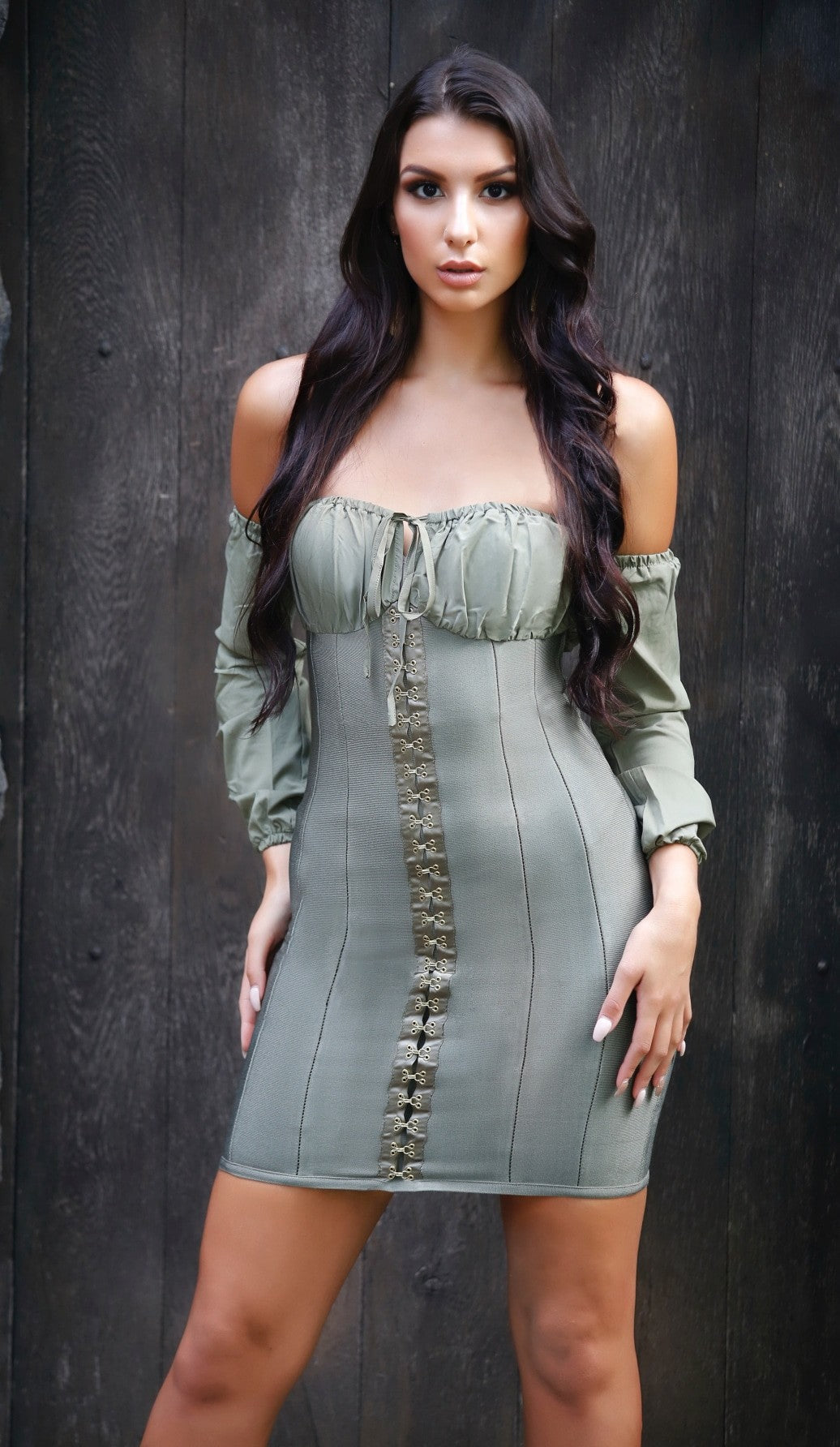 'CHRISTINE' Off the Shoulder Corset Bandage Dress - Olive - GLAMBAE FASHION