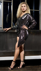 """MELANIA"" Metallic Ruched Mini Dress - GLAMBAE FASHION"