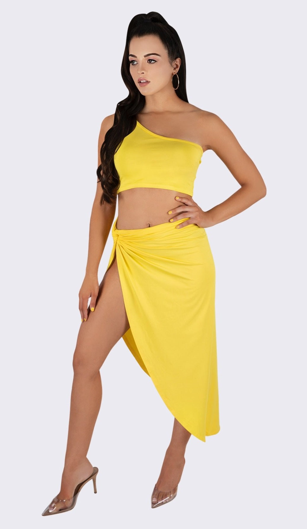 'MIMI' One Shoulder Two Piece Set - Yellow - GLAMBAE FASHION