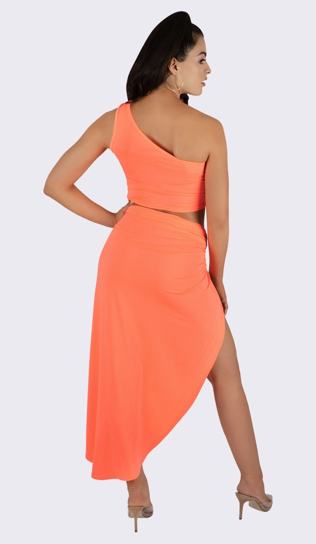 'MIMI' One Shoulder Two Piece Set - Neon Coral - GLAMBAE FASHION