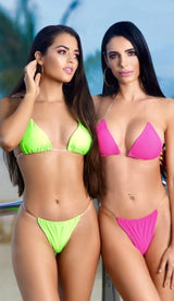 'KAIA' Clear Strap Bikini - Neon Green - GLAMBAE FASHION