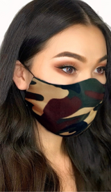 'CAMOUFLAGE' Mask with Nose Wire and Adjustable Ear Strap