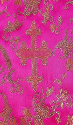 Custom Made Fashion Mask - Pink Brocade with Gold Cross