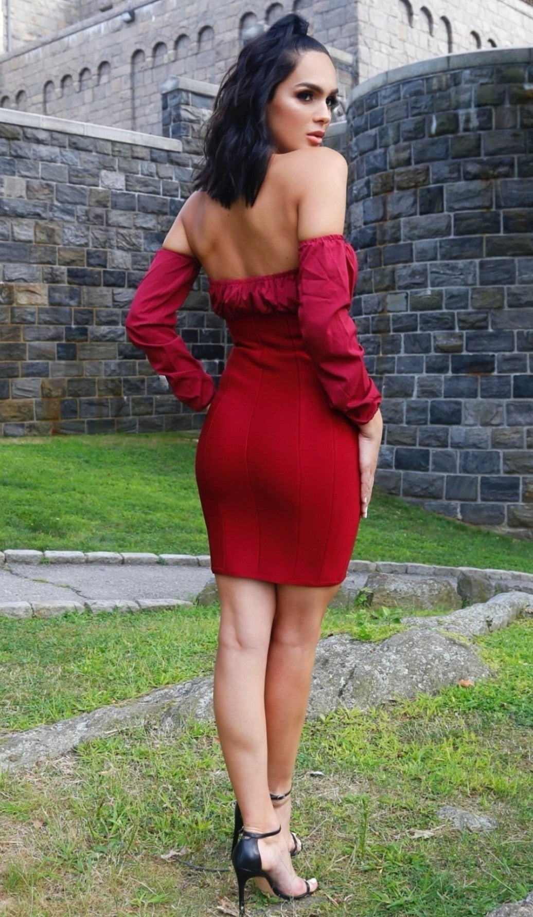 'CHRISTINE' Off The Shoulder Corset Bandage Dress - Wine