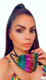 RAINBOW FOIL FASHION MASK WITH NECK STRAP