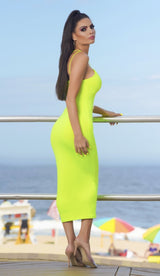 'STELLA' Double Strapped Midi Dress - Neon Yellow - GLAMBAE FASHION