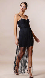 """CAMILA"" Bandage Fringe Dress - Black - GLAMBAE FASHION"
