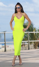 'STELLA' Double Strapped Midi Dress - Neon Yellow