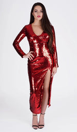'BIANCA'  Sequin Slit Dress - GLAMBAE FASHION