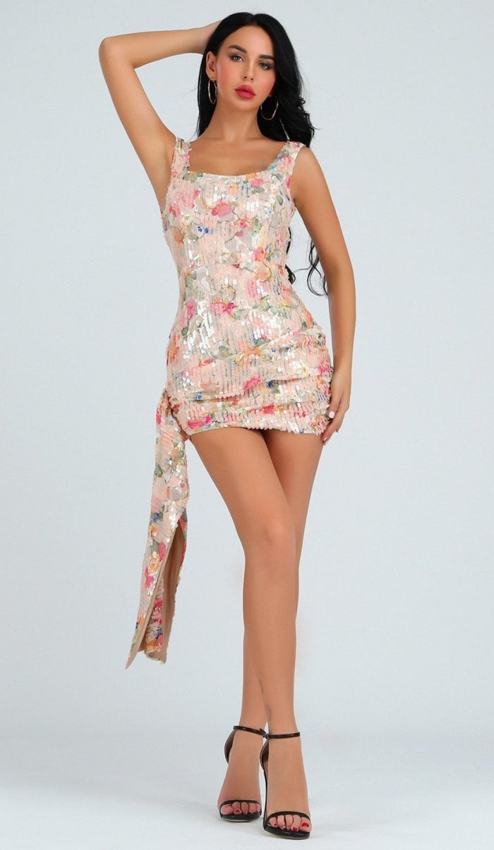 'SERAFINA' Floral Sequin Sash Mini Dress - GLAMBAE FASHION