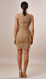 """HELENA"" Brown Criss Cross Bandage Dress - GLAMBAE FASHION"