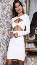 GIZELLE Bandage Twist Knot Dress - White