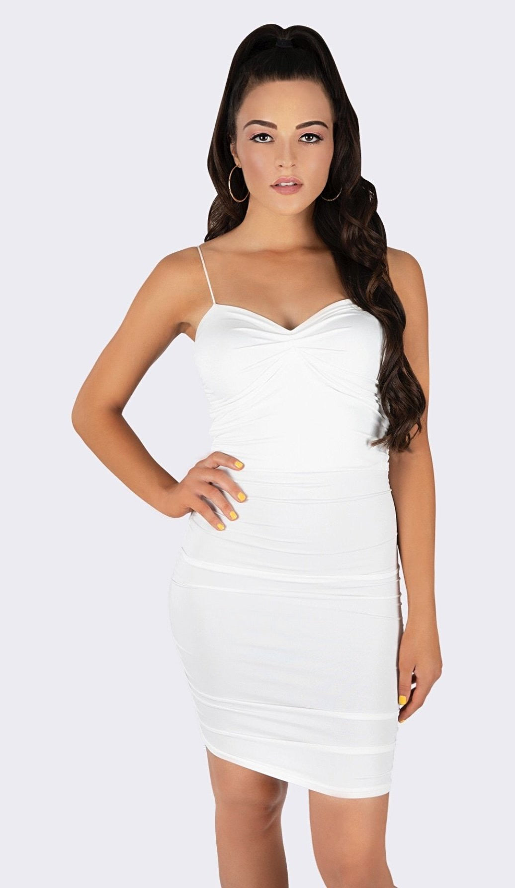 'NORRIE' Ruched Mini Dress - White