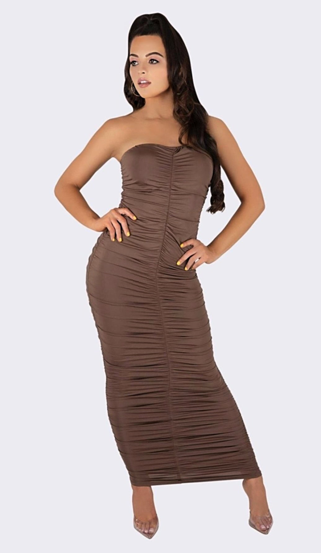 'DAPHNE' Ruched Strapless Maxi Dress - Taupe - GLAMBAE FASHION
